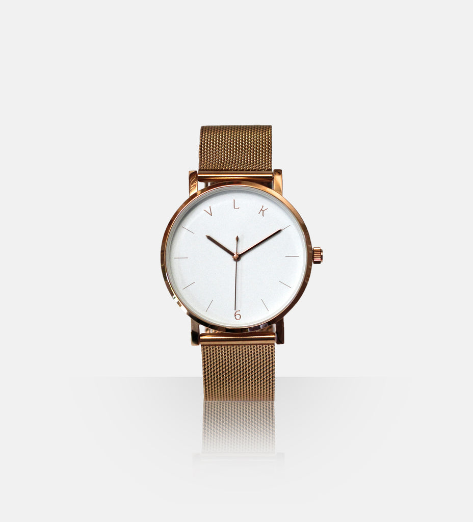 True6 Women's Watch 040: White + Rose Gold - vlkwatches