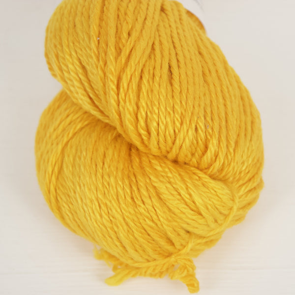 Strong yellow worsted weight bamboo & organic cotton yarn