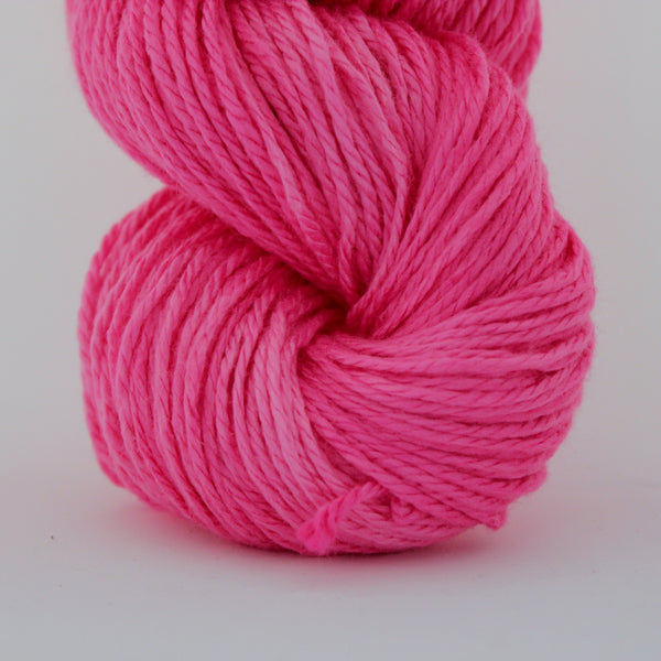 Neon Bubblegum - Alnilam,  Vegan Yarn, Alnilam vegan yarn, wool free, hand dyed yarn, bamboo, organic cotton, fair trade, naturally dyed, cellulose yarn, vegetarian, cruelty free, sock yarn without wool, cotton blend sock yarn, wool alternative, hand dyed wool free yarn, naturally dyed cotton yarn, plant based, vegetal, botanical, ecological, low impact, cruelty free, herbivore, vegetalien, crochet, weave, weaving, crafting, supply, supplies, hand dyed, natural dye