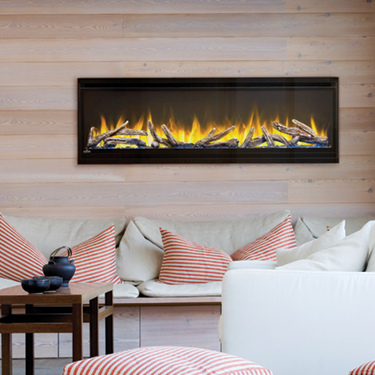 Napoleon Alluravision 50 Inch Deep wall mounted electric fireplace modern setting orange flame log set