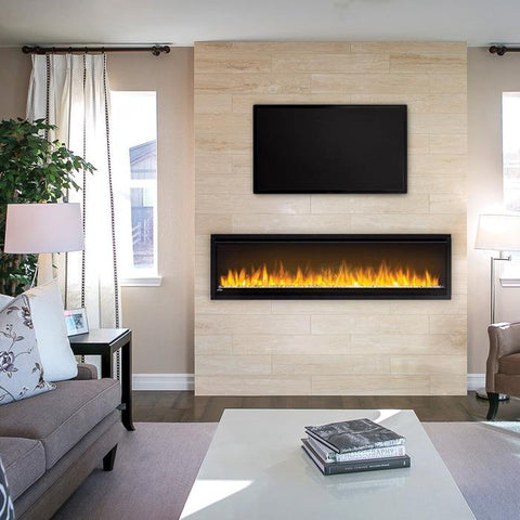 Napoleon Alluravision 60 slimline electric fireplace installed with tv above orange flames modern living room setting