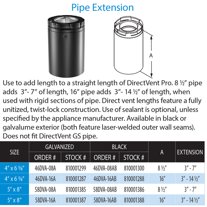 DuraVent DVP 8 1/2 In Pipe Ext (Adjusts 3-7 Inch) - Blk | 46DVA-08AB