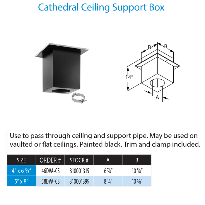 DuraVent DirectVent Pro Cathedral Ceiling Support Box | 58DVA-CS