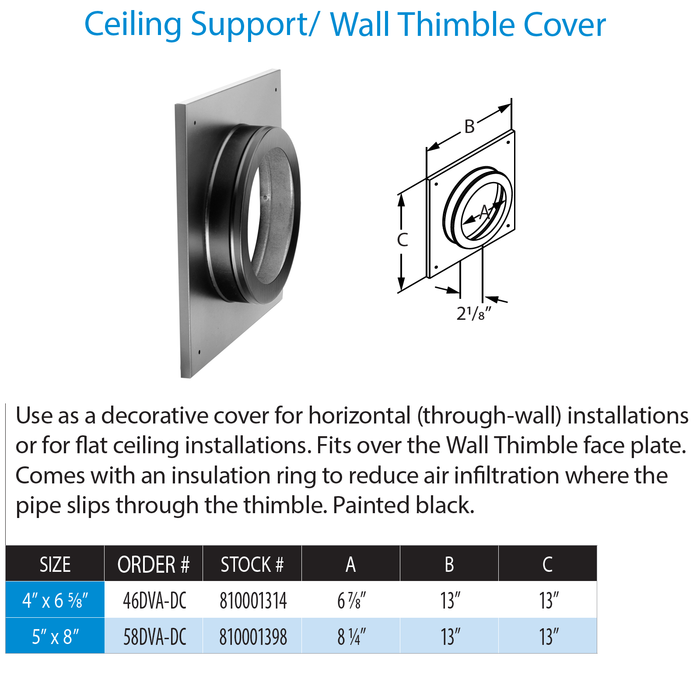 DuraVent DVP Ceiling Support/Wall Thimble Cover | 58DVA-DC