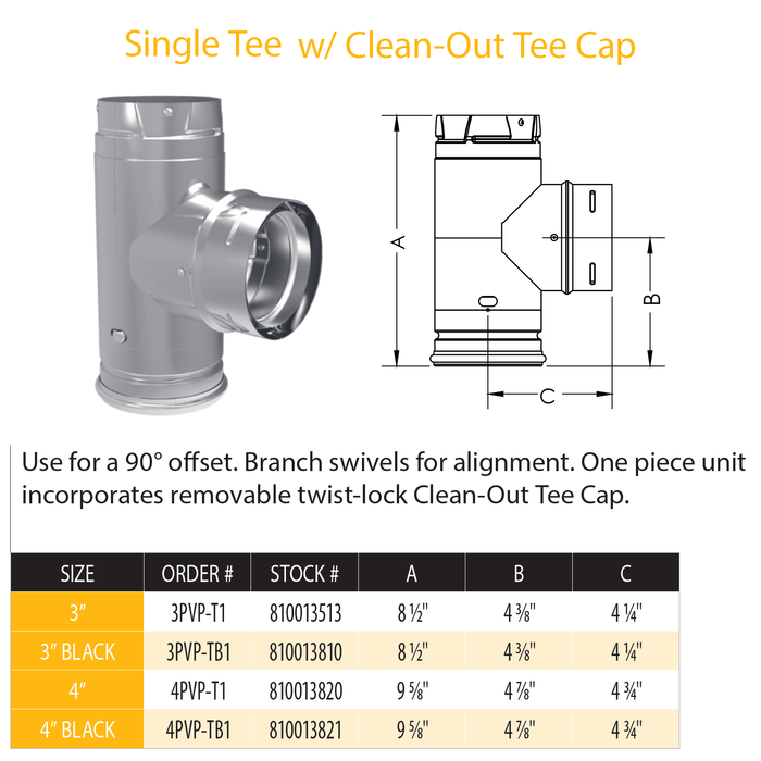 Simpson DuraVent Pellet Vent Pro Tee with Clean Out 3"