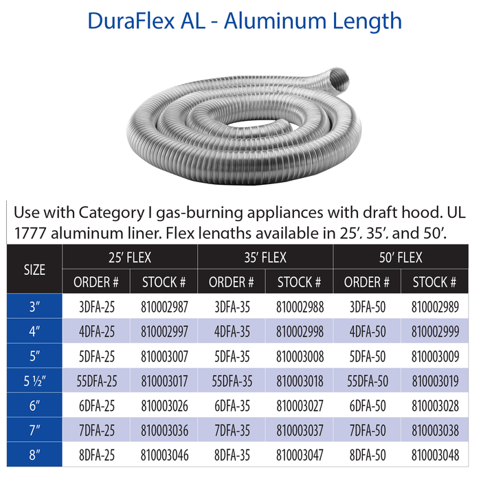 "Simpson DuraVent Aluminum Flex Length 3"" x 35' 