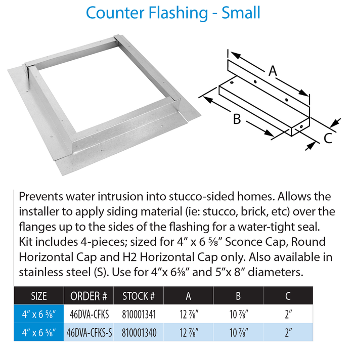 DuraVent DVP Counter Flashing Small Stainless Steel | 46DVA-CFKS-S