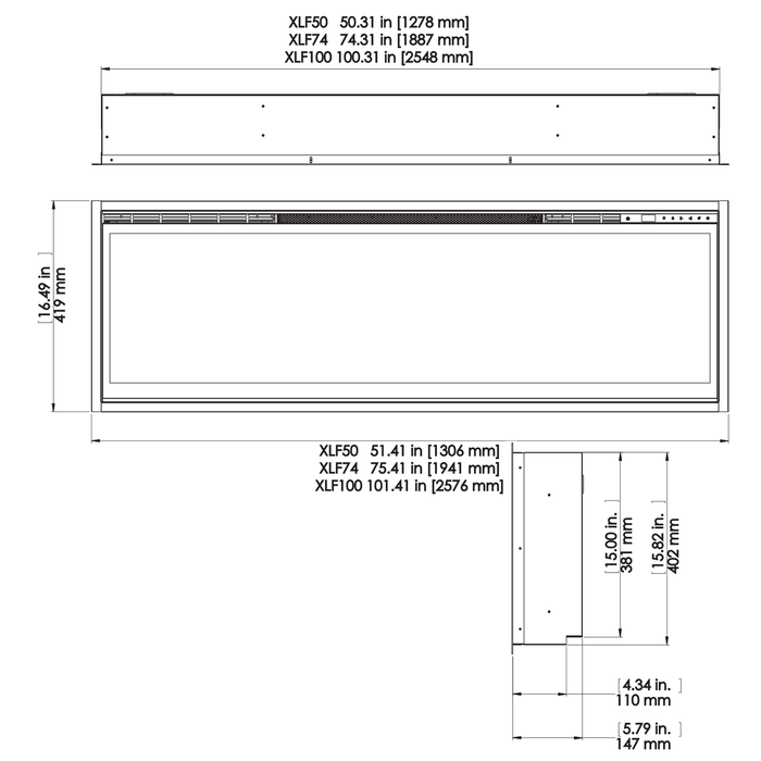 Dimplex IgniteXL 74 Inch Wall Mount Linear Electric Fireplace | XLF74