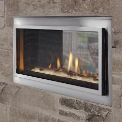 Enjoy the view from inside and outside! Factory installed stainless steel exterior and two interior trim options make this a one of a kind gas fireplace.