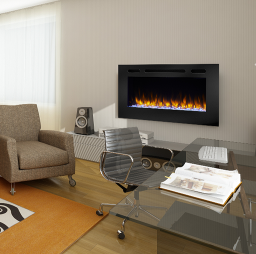 SimpliFire Allusion 40 Inch Wall Mounted Electric Fireplace | SF-ALL40-BK |