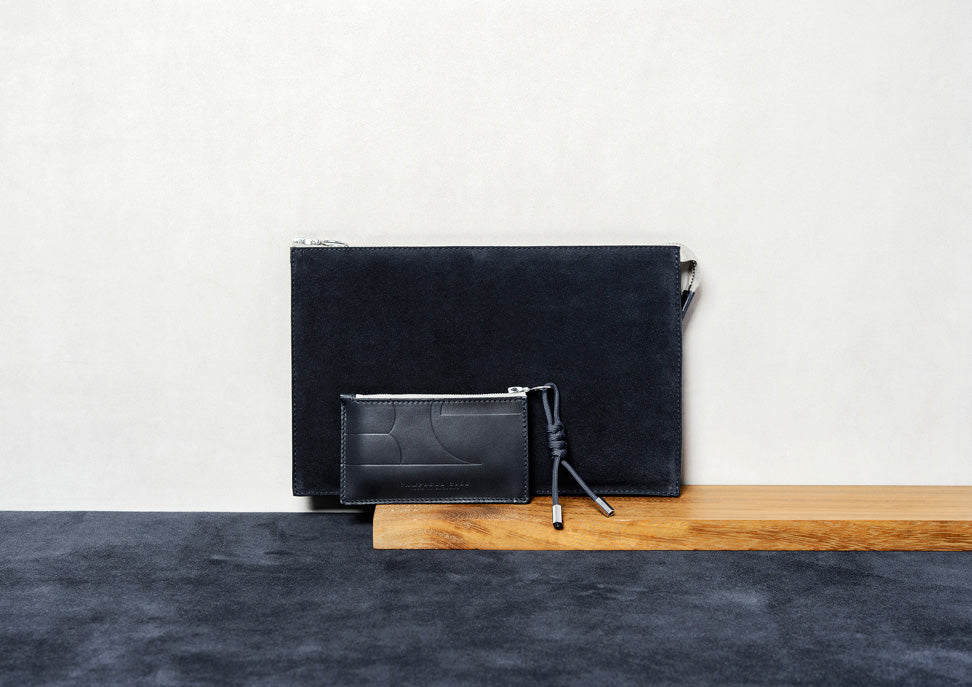 NAVY APPLE IPAD POUCH AND ZIP COIN POUCH - MADE IN ENGLAND