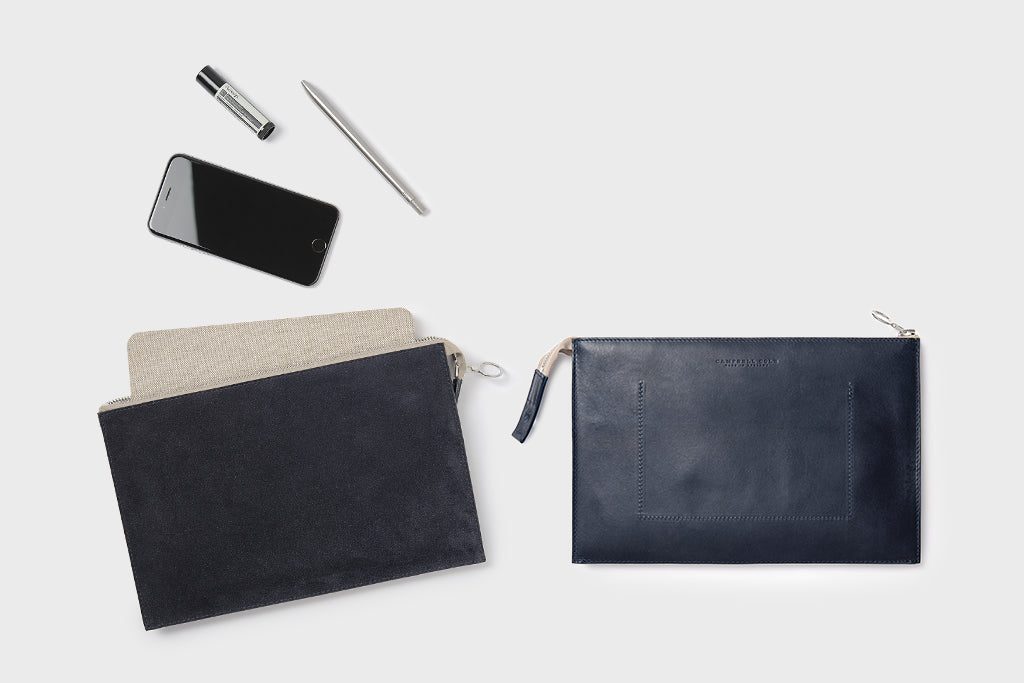 Campbell Cole Simple A5 Pouch Navy Suede
