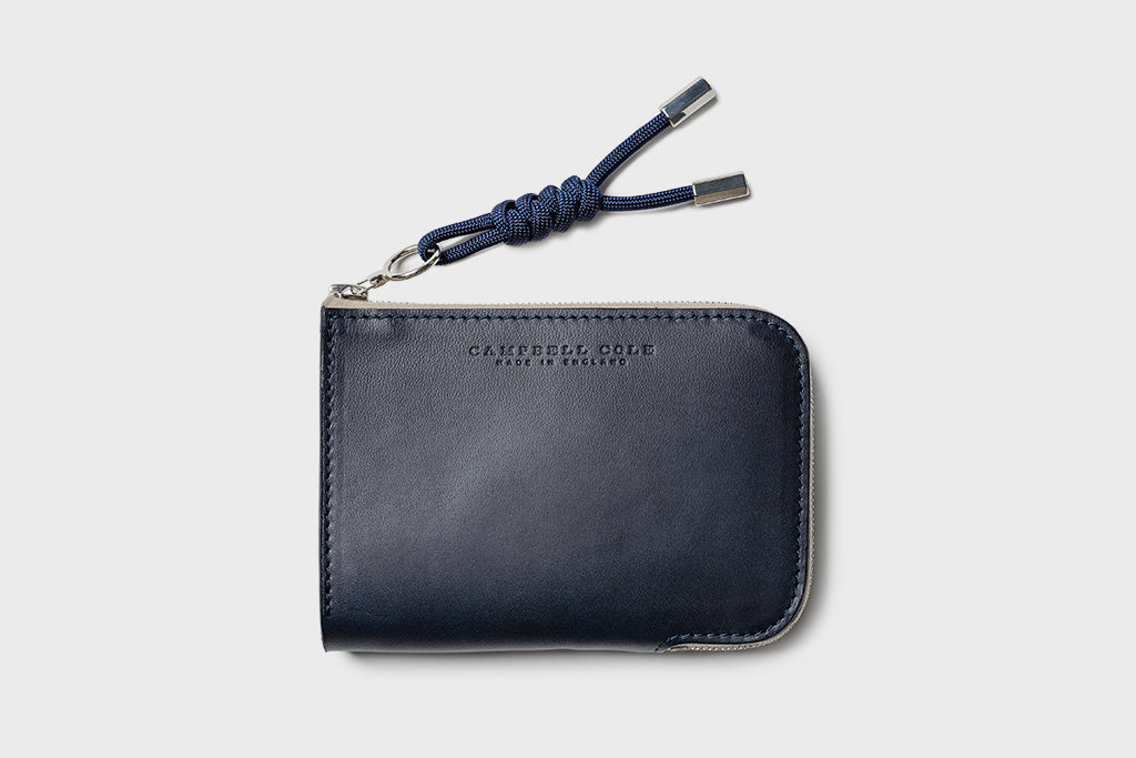 Campbell Cole Simple Zip Corner Wallet Navy Made in the UK