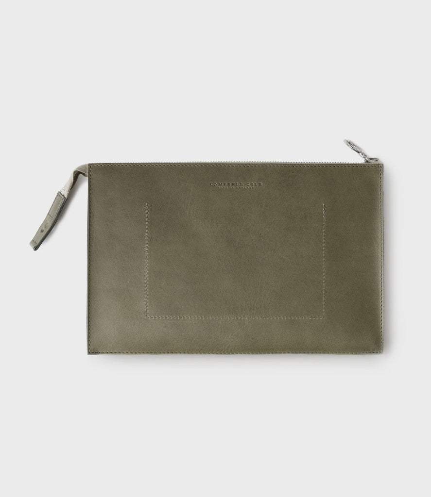 SIMPLE A5 POUCH - KHAKI SUEDE
