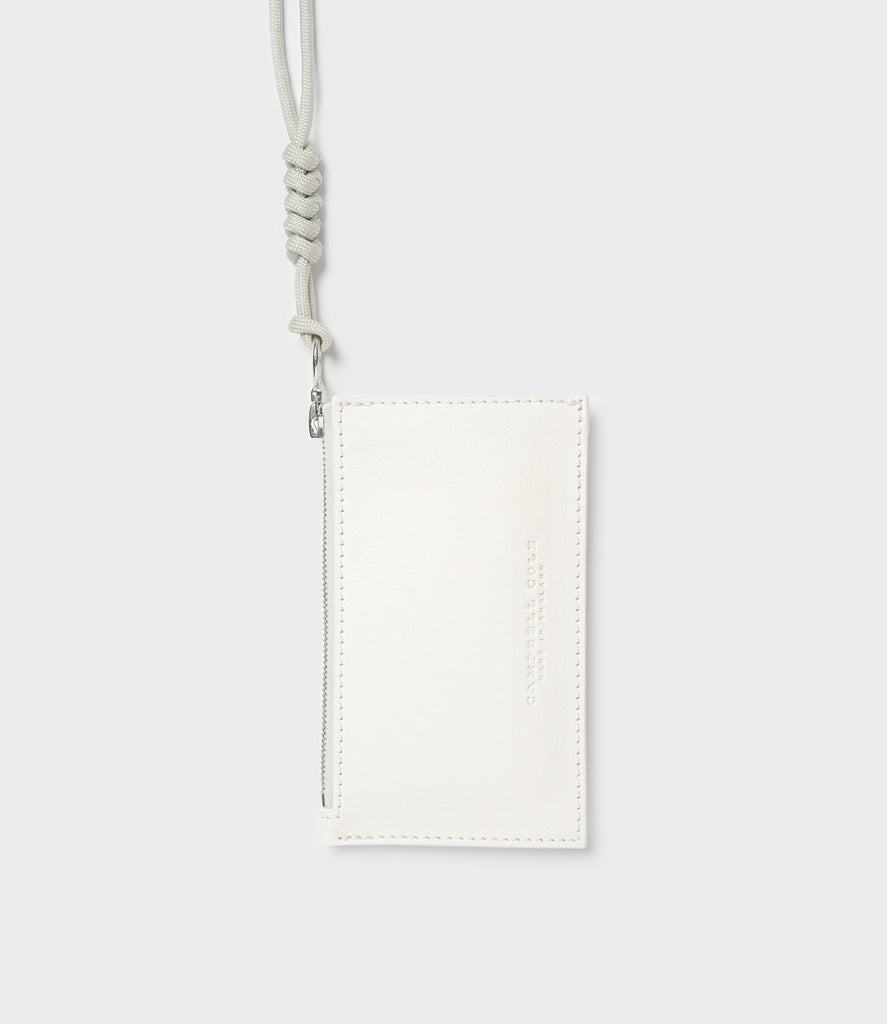 SIMPLE COIN POUCH, LANYARD - CHALK