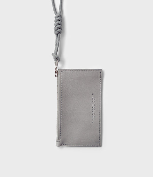 CAMPBELL COLE - COIN POUCH LANYARD - GREY - MADE IN ENGLAND - 01