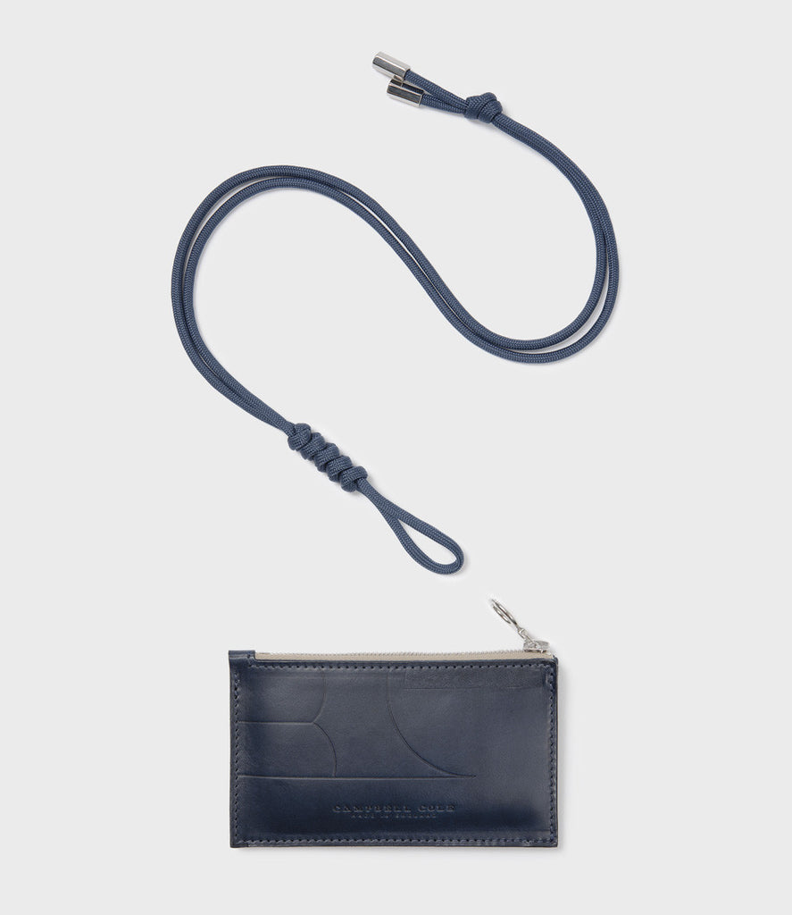 SIMPLE COIN POUCH EMBOSS, LANYARD - NAVY