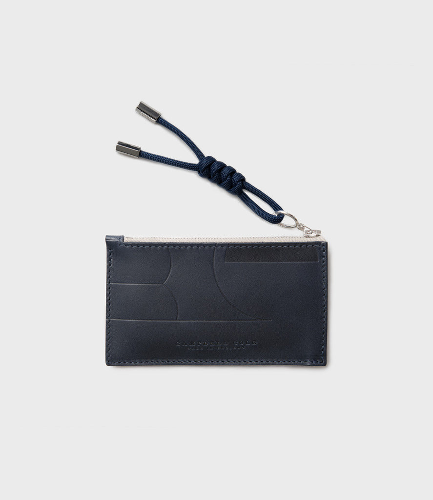 SIMPLE COIN POUCH EMBOSS, PULLER - NAVY