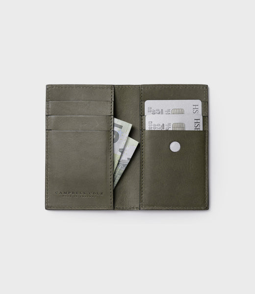 SIMPLE SLIM CARD WALLET - KHAKI SUEDE