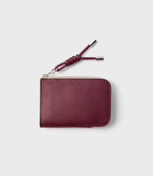 SIMPLE ZIP CORNER WALLET - BURGUNDY