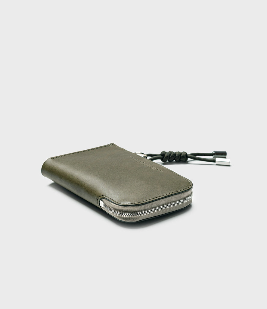 SIMPLE ZIP CORNER WALLET - KHAKI