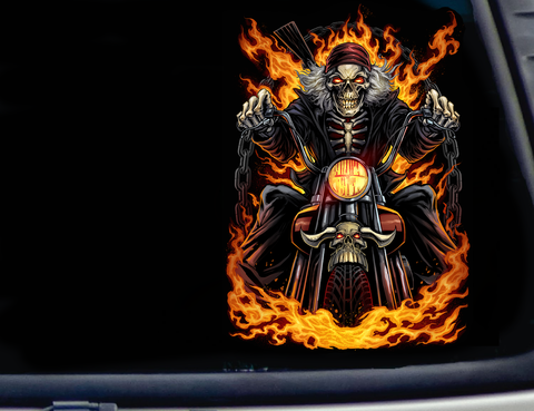 "Flame Skeleton Biker Vinyl Sticker Decal 5"", 7"", 10"" inches Height"