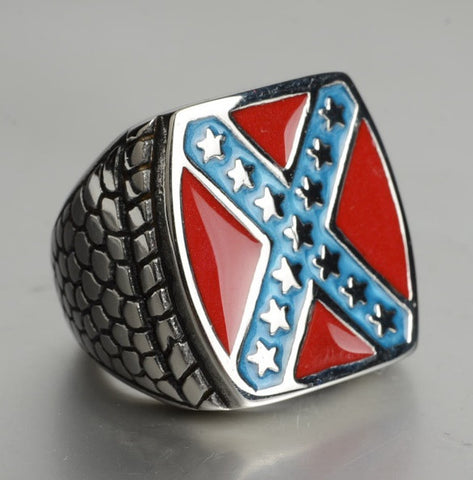 Classic American Flag Ring Stainless Steel Jewelry Fashion Motor Biker Men Ring