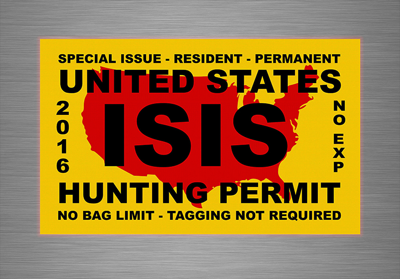 "United States ISIS Hunting Permit Vinyl Sticker Decal 7"" inches Width with Free Shipping!"