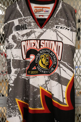 2019-20 Owen Sound Attack Game Issued 20th Anniversary Warm-Up Jerseys