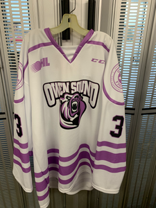 Owen Sound Attack Hockey Fights Cancer Game Issued Jerseys