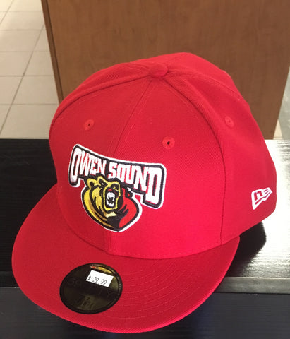 Red New Era 59Fifty Owen Sound Attack Full Back Hat.