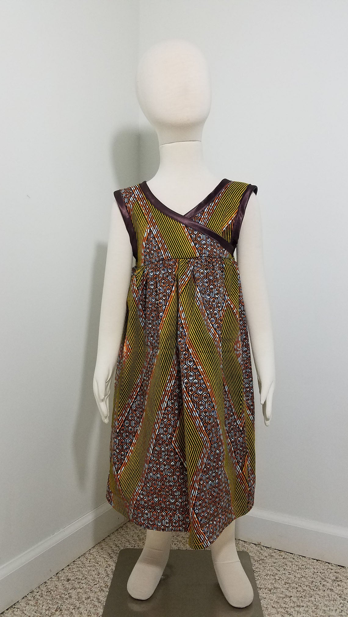 57ff6037e66 African Print girls  sundress with criss-cross top- burnt orange with brown  trim ...