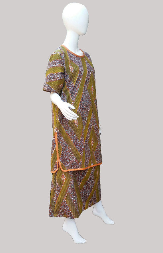 44fc1219079 African Print Skirt Suit- criss-crossed burnt orange and gold yellow  stripes on hexagonal background (size M  US 8-10)