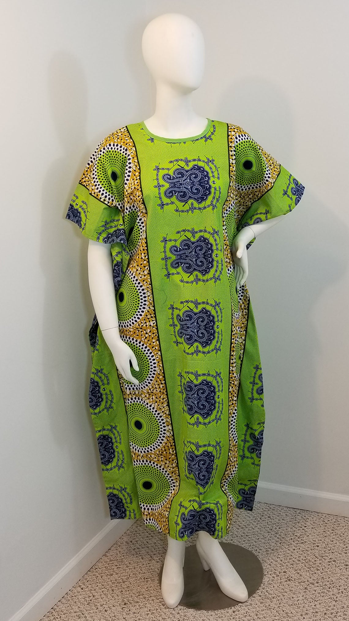 1aca031f48344 African print caftan dress- green and brown (size: one size fits most)