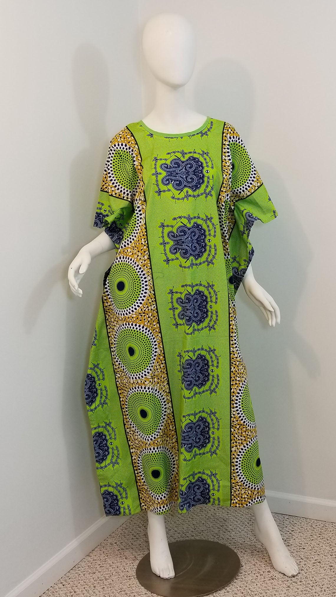 f7d22d3b56e33 African print caftan dress- green and brown (size: one size fits most) ...