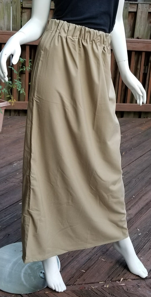 1a34827491 Tan Smooth Cotton Skirt with Elastic Waist - Bosa Modest Wear