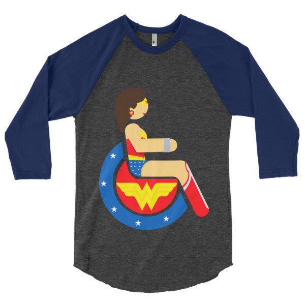 Men's Adaptive Wonder Woman 3/4 Sleeve Raglan Shirt