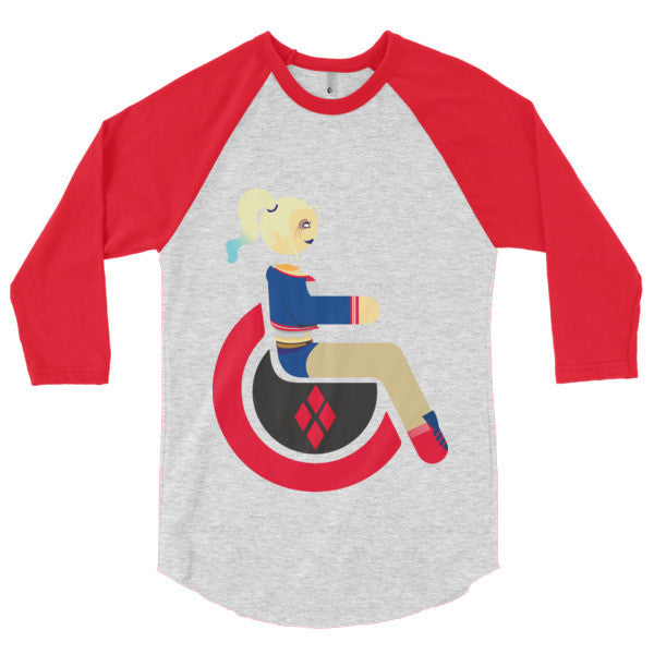 Men's Adaptive Harley Quinn 3/4 Sleeve Raglan Shirt