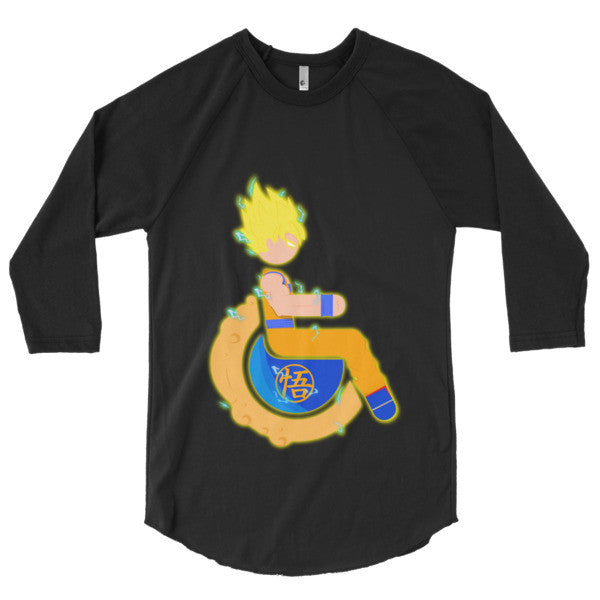 Men's Adaptive Super Saiyan 1 Goku 3/4 Sleeve Raglan Shirt