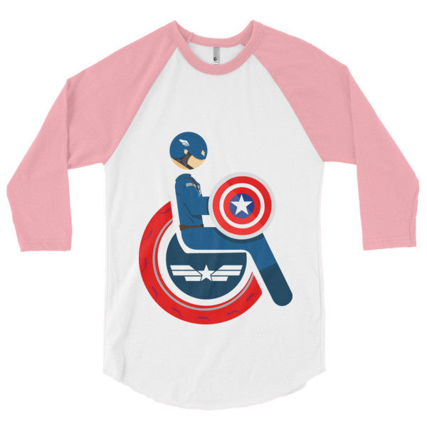 Men's Adaptive Captain America 3/4 Sleeve Raglan Shirt