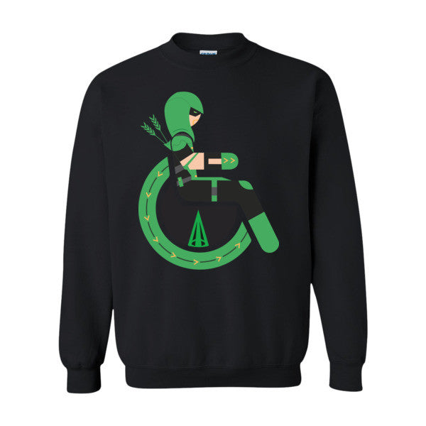 Mens Adaptive Green Arrow Crewneck Sweatshirt Adaptive Apparel