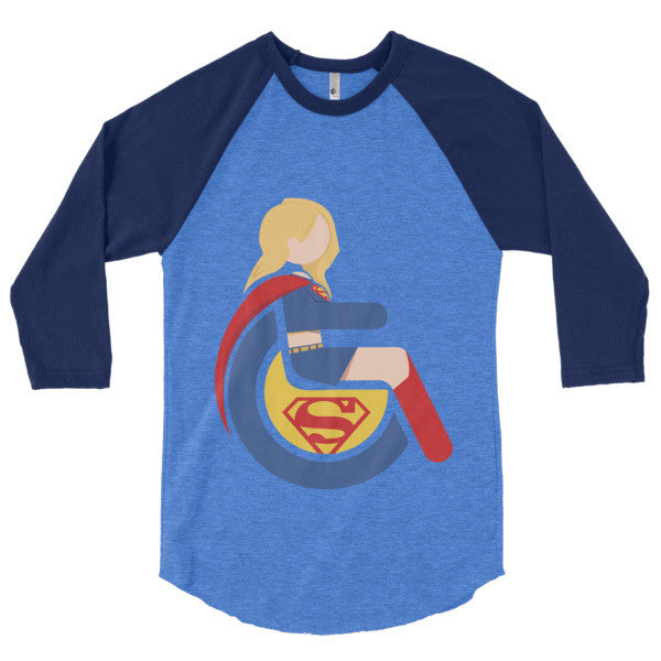 Men's Adaptive Supergirl 3/4 Sleeve Raglan Shirt