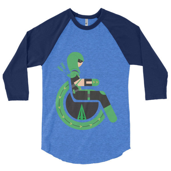 Men's Adaptive Green Arrow 3/4 Sleeve Raglan Shirt