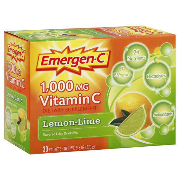 Alacer Corp - Emergen-C 1000 mg Vitamin C Lemon Lime - 30 x 0.3 oz. Packets