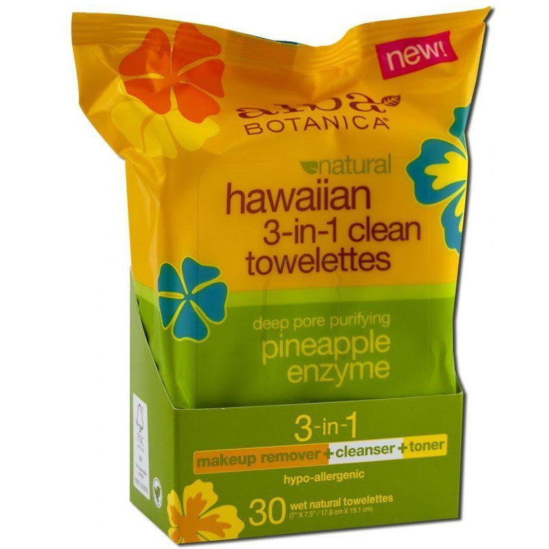 Alba Botanica - Hawaiian 3-in-1 Clean Towelette - 30 Towlettes