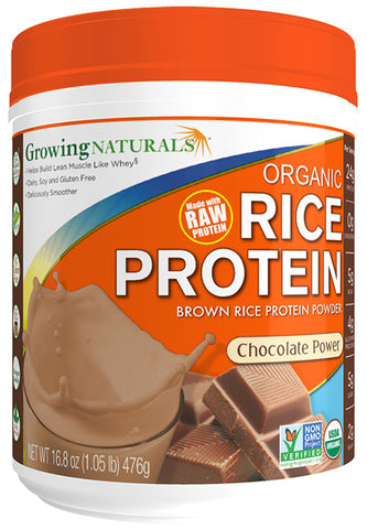 Growing Naturals -  Rice Protein Isolate Powder, Chocolate Power