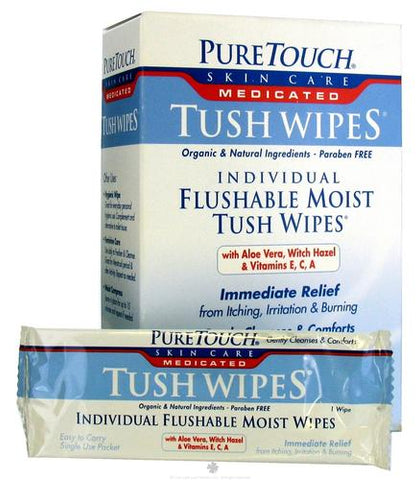 Puretouch Skin Care - Wipes Tush Med Flushable 24 Wipes