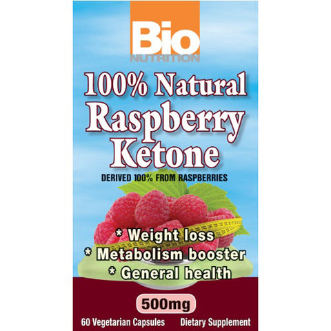 Bio Nutrition - 100% Natural Raspberry Ketones - 60 Vegetarian Capsules