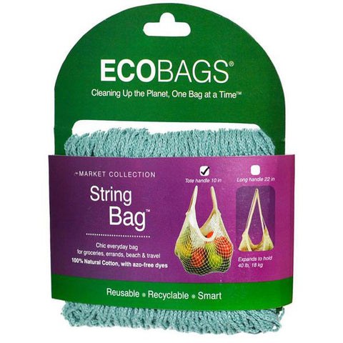 ECO-BAGS - String Bag Tote Handle Natural Cotton Washed Blue