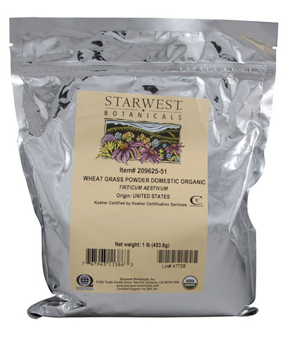 STARWEST BOTANICALS - Organic Wheat Grass Powder Domestic - 1 Lbs. (453.6 g)